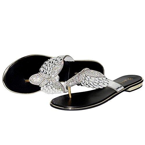 Women's Sandals SYYAN Damen PU Strasssteine Pinch Toe Handgemacht Flip Flops Freizeit, 38, Black