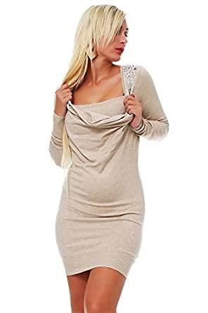 10186 Fashion4Young Damen Strick Minikleid LongPullover Pullover Pulli Kleid in 7 Farben Gr. 34/36 (34/36, Creme)