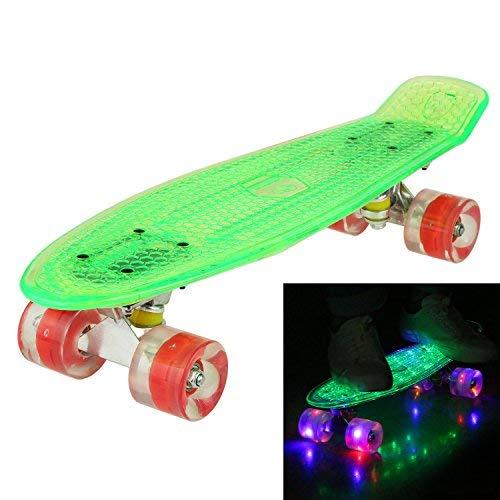 """Hikole Cruiser Kinder Skateboard Komplett Retro Mini Crystal Komplettboard, 22\"""" 55CM Vintage Skate Board mit LED Leuchtrollen und Deck für Anfänger Jugendliche Kinder Jungen Mädchen Grün"""