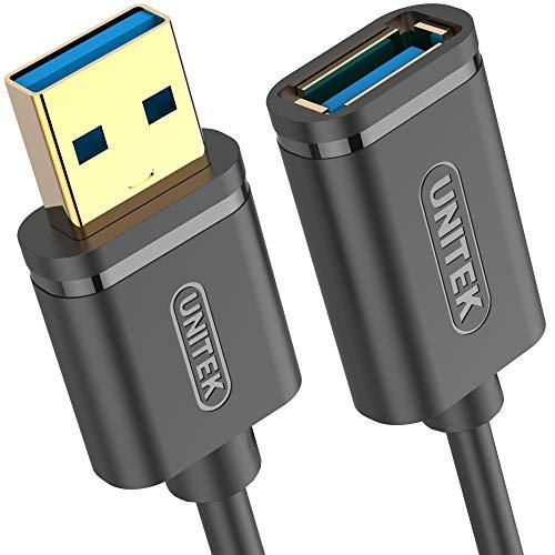 UNITEK Kabel USB 3.0 A Stecker auf USB A Buchse/Verlängerungskabel / 2 Meter, Schwarz/Verlängerung für Drucker, Tastatur, Kartenleser etc. / Y-C459GBK (Usb-stecker-stecker-2 Meter)