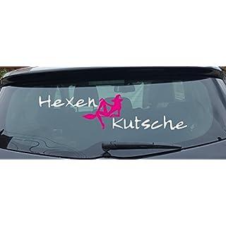 Hexenkutsche 80-120cm, in verschiedenen Modellen XXL-Aufkleber (Schrift Weiss - Hexe Pink)