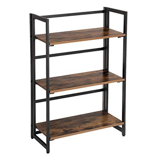 VASAGLE Standregal im Industrie-Design, Bücherregal mit 3 Ablagen, Klappregal, multifunktionales Regal, mit Metallrahmen, keine Montage erforderlich, für Wohnzimmer, Schlafzimmer, Küche Vintage LLS66X -