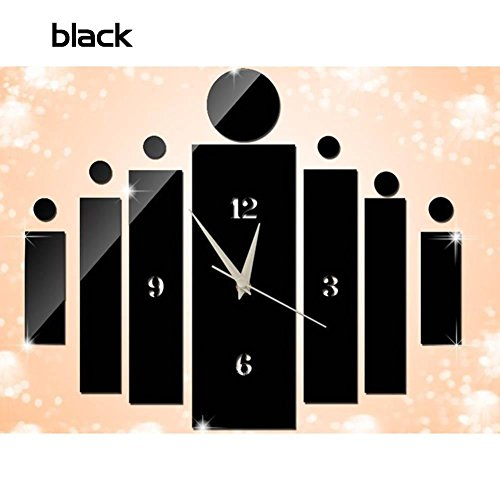 BENHAI Décoration Art Autocollants Acrylique Créatif Cuisine Amovible Vente Chaude Design Moderne 3D BRICOLAGE Horloge Murale Miroir Horloge Pour Chambre Chambre Mode Stickers Muraux Décoration Mi (noir)