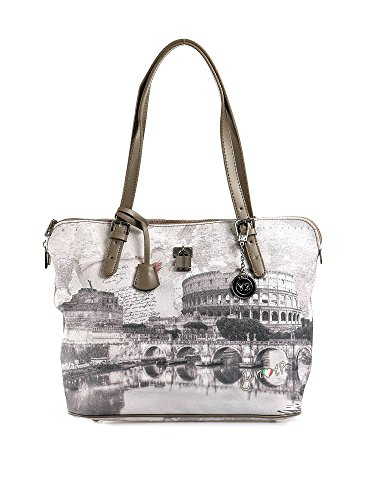 Y NOT? - Borsa shopper donna clip manici shopping medium g-377 roma love letter