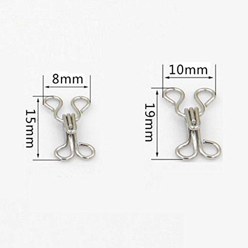 Gazechimp Set 36Pcs BH Haken + Ösen Nähen Verschluss Augen 8mm +10mm Silber