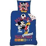 MICKY Maus Kinder Bettwäsche · MICKEY MOUSE SPORT Fußball · Wende Motiv in blau · 2 teilig - Kissenbezug 80x80 + Bettbezug 135x200 cm - 100% Baumwolle