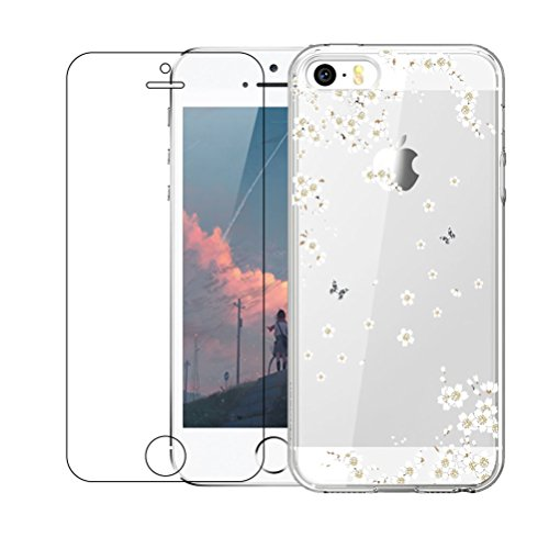 iPhone 5 / 5S / SE Case with Tempered Glass Screen Protector, Shumeifang® Ultra Thin Soft Gel TPU Silicone Case Cover with Cute Cartoon for Apple iPhone 5 / 5S / SE - Cherry Blossoms Black Silicon Case Screen