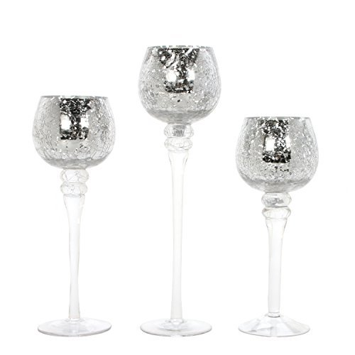HOSLEY 's Set of 3 Crackle Mecury Glas Gefäßes (22,9 cm 25,4 cm & 30,5 cm High). -