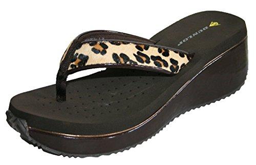 Dunlop–Für Damen Strand Sandale Flip Flops ausgeglichen Mehrfarbig - Léopard