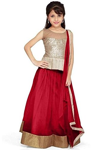 SKY WORLD Red Soft Net Traditional Kids Wear Lehenga Choli for Girls. (8-12 Yrs)  available at amazon for Rs.199