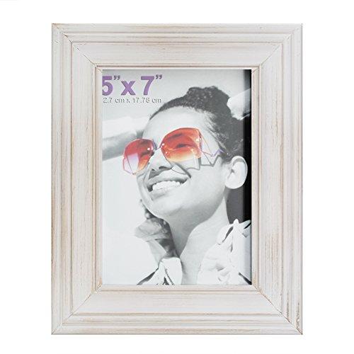 10,2x 15,2cm Bilderrahmen aus massivem Holz Und High Definition Glas für Tisch klappbar und Wandmontage Bilderrahmen, holz, antik-weiß, 5x7 inch (Weiß 5x7 Bilderrahmen)