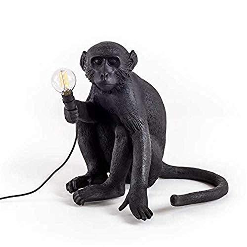 Rustikale Kupfer-log (● ® Monkey Tischlampen Retro Rustikale Schreibtischlampe Harz Nordic Einfache Nachtlicht für Kinder Junge Mädchen Wohnzimmer Schlafzimmer Studie Bedsides Büro E27 Schwarz 12.22