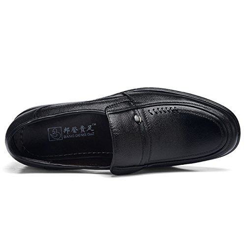 GRRONG Chaussures En Cuir Pour Hommes Loisirs Daffaires Moyen De Noir Dâge Black
