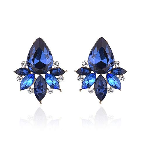 HIWSSH Ohrring Colorful Acrylic Crystal Stone Stud Ohrrings Rhinestone Women Piercing Ohrrings Birthday Gift Party Jewelry royal ()