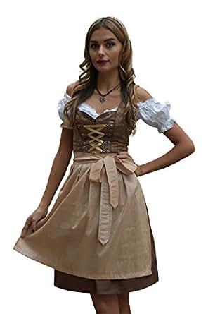 Dirndl set abito tradizionale bavarese 488gt marrone con for Amazon offerte abbigliamento
