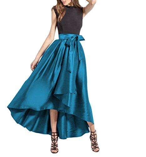 CoutureBridal® Femme Jupe Longue Elégante Jupe Vintage Haille Haute pour Soirée avec Une Ceinture Satin Bleu
