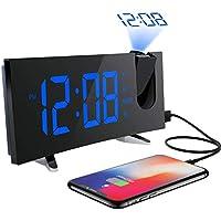 """Despertador Proyector, Holife Reloj Digital Proyector, Fácil de Operacion, 5""""Pantalla LED Curva &6 Brillo, Radio FM, [Dual Alarma con 3 Sonido Suave + Radio], Función Snooze, Puerto USB, Luz Atenuante"""