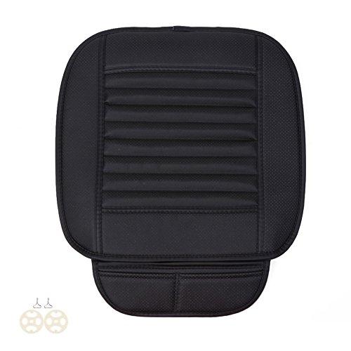 Four Seasons général PU Cuir Charbon de bambou respirant Assise confortable Intérieur de voiture Housse de coussin Pad Tapis - noir
