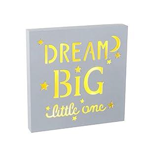 Unbekannt Heaven Sends Schild mit Spruch und LED-Beleuchtung Dream Big Little One (20 x 20 x 2,5 cm) (Weiß)