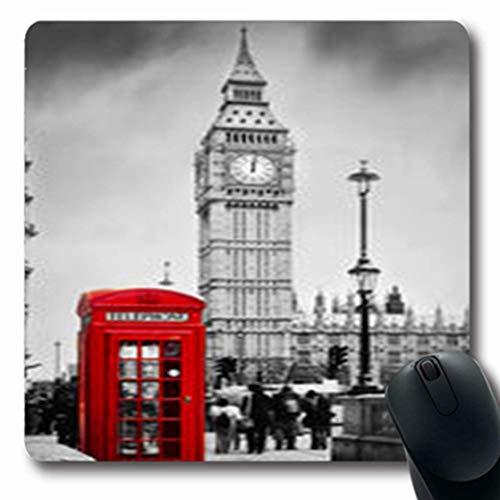Luancrop Mousepads Reise-rote Telefonzelle Big Ben London Weinlese-Telefon-längliches Spiel-Mausunterlage-rutschfeste Gummimatte - Telefon Telefonzelle