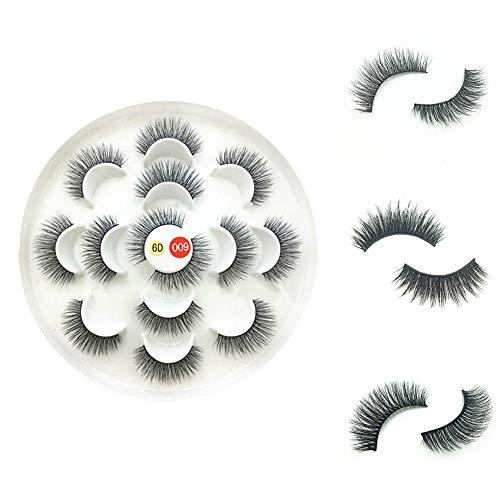 tyhmnoiiu 7 Paare 6D falsche Wimpern, handgemachte Multi-Layer Lange lockige weiche synthetische Faser Wimpern Erweiterung Make-up Werkzeug 9 -
