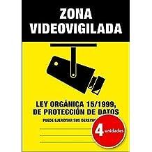 Lote (Pack) de 4 unidades | Pegatina Cartel Alarma ZONA VIDEOVIGILADA Disuasorio Aviso 15