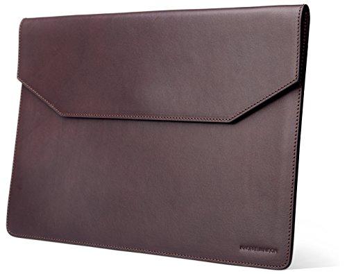 nische Leder-Hülle für Macbook 15 Zoll / Pro Retina/ New Pro & Pro mit Touch Bar- Premium Umschlag Fall für Apple Mac 15 Zoll Laptops- Dunkelbraun (Italienische Leder-karte Fall)