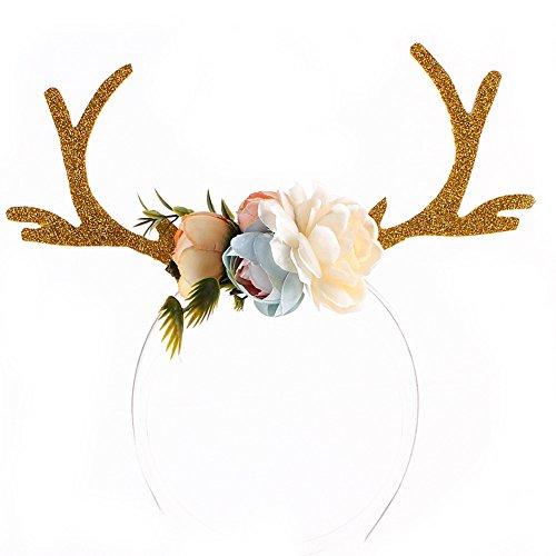 Stirnbänder Nette Hirsch Geweih Ohren Blume Stirnband Kinder Party Haar Hoop Fawn Horn Haarband Cosplay Kostüm (Lustige Diy-kostüme Für Halloween)