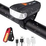 ELEHOT Fahrradbeleuchtung Set USB Automatische Lichteinstellung IPX6 Wasserdicht Fahrradlichte Set mit 5 Leuchtmodi Fahrradlampe Set inkl Wiederaufladbare 450 Lm 150m/820ft - Verpackung MEHRWEG