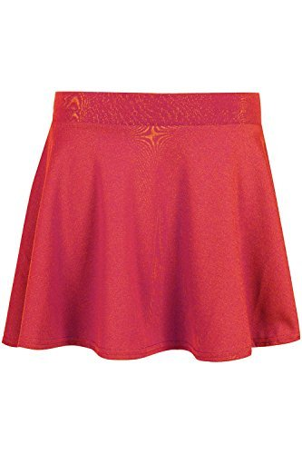 Oops Outlet Kinder Ausgestellter Skaterrock Mädchen Hoher Bund Uniform Stretch Swing Schule Elastisch College Minirock Rot