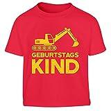 Geburtstag Junge Bagger Geburtstagskind Kleinkind Kinder T-Shirt - Gr. 86-116 106/116 (5-6J) Rot