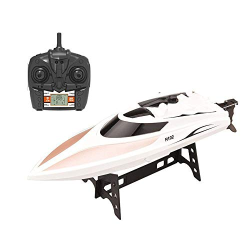 KINGBOT RC Boat, 2.4GHz 4CH High Speed Remote Control Boat with LCD Screen Racing Boat Electric Motor Ship Long Remote Control Distance for Adult and Kids (H106)