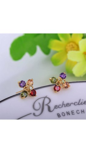 ELECTROPRIME New 18K Gold Plated Flower with Colorful Imitation Diamond Stud Earrings # International Bazaar