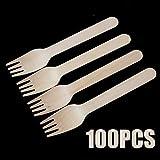 EPISKEYER Posate monouso in Legno Forchette Cucchiai 100Pz Utensili da Dessert per Feste Stoviglie Forchetta in Legno Posate Posate in Legno Forca,forchetta140mm