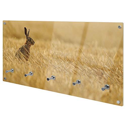 banjado Wandgarderobe aus Echtglas | Design Garderobe 80x40x6cm groß | Paneel mit 5 Haken | Flurgarderobe für Jacken und Mäntel | Garderobenleiste mit Motiv Hase
