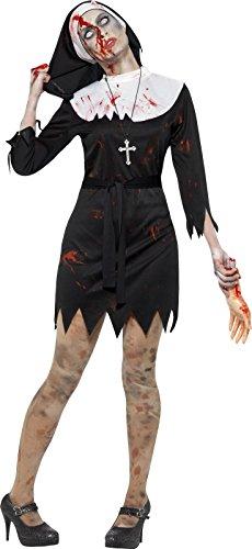 Ideen Twin Tag Kostüm (Smiffy's 45527S - Damen Zombie Ordensschwester Kostüm, Kleid, Kopftuch, Gürtel und Kreuz Kette, Größe: 36-38,)