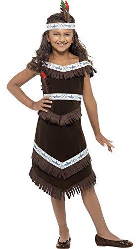 erdbeerclown - Kinder Mädchen Indianerin Kostüm mit Fransen Haarband Federn, 140-152, 10-12 Jahre, ()