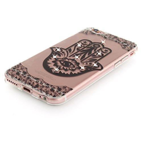 iPhone 6S Plus Hülle, Voguecase Bling Silikon Schutzhülle / Case / Cover / Hülle / TPU + PC Gel Skin für Apple iPhone 6 Plus /6S Plus 5.5(Diamant-Durchstochen Kreis 01) + Gratis Universal Eingabestift Diamant-Durchstochen 03/Schwarz
