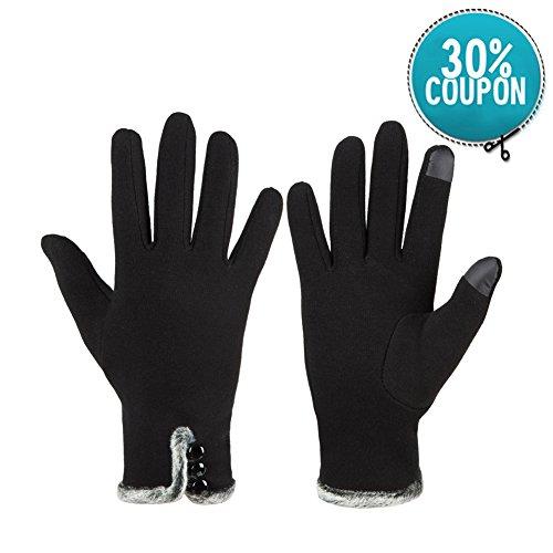 Warme Winter-handschuhe (GLOUE Warm Winter Handschuhe Damen Touchscreen Handschuhe Kaschmir Drinnen Draußen Fahrradhandschuhe Motorradhandschuhe Mountainbike Handschuhe Schwarz, Rot, Grau (Schwarz))