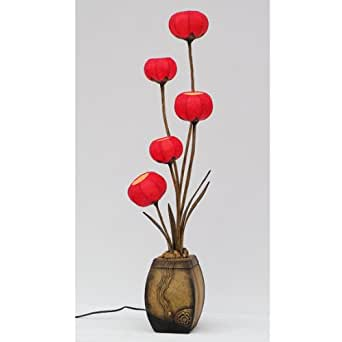 Mulberry rice red paper five ball lanterns handmade flower for Paper floor lamp amazon
