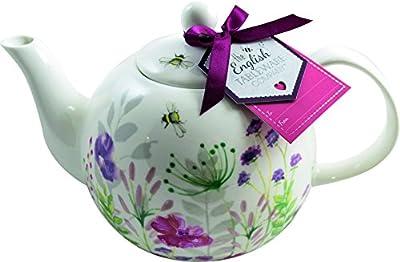 'en fleurs' en porcelaine fine Théière avec étiquette de cadeau et ruban