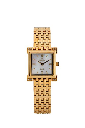 Oskar-Emil Classic Toledo Women's Quartz Watch with Mother of Pearl Dial Analogue Display and Stainless Steel Gold Plated Bracelet
