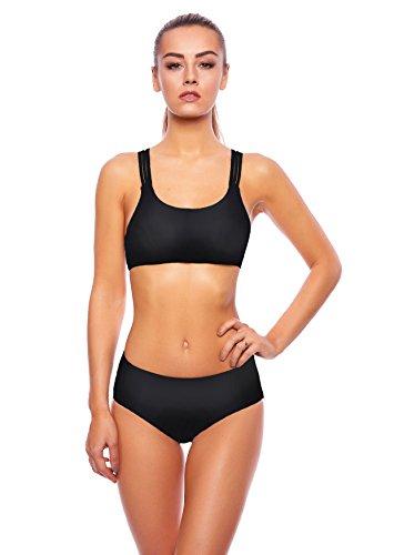 Hammer Bademode! Damen Push up Bikini Set Slip Sportliches Design Strand Zweiteilig Badeanzug f5425 Bikini Black U(sw)