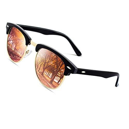CGID MJ56 clubma Unisex Retro Vintage Sonnenbrille im angesagte 60er Browline-Style mit markantem Halbrahmen Sonnenbrille,Brillen trends 2018, A Schwarz-orange, 51