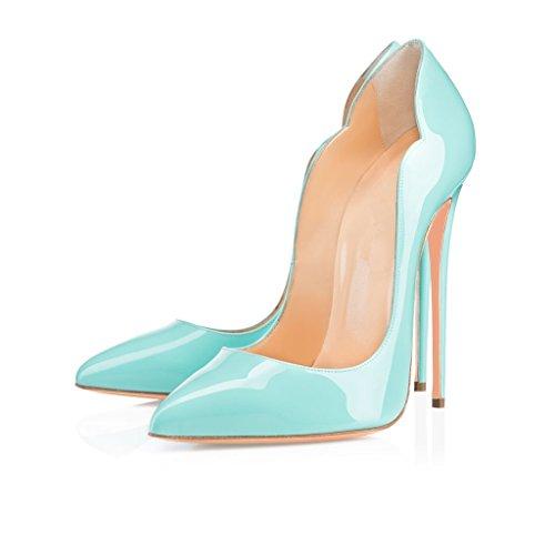 ELASHE - Femmes - Stiletto sexy - Classic talon haut- Cuir Vernis brillant synthétique - Talon aiguille 12CM - Grande Taille - Bout pointu fermé Bleu