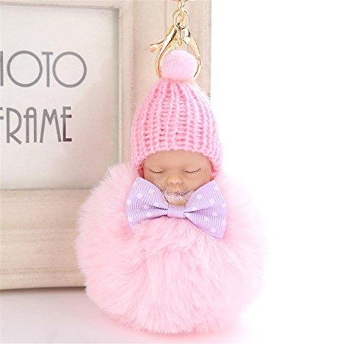 artistic9(TM) 8cm Niedliche Baby Puppe in Hat Anhänger Frauen weiche Zeitgemäß Ball Key Ring Halter Schlüssel Ketten, rose, 8 cm