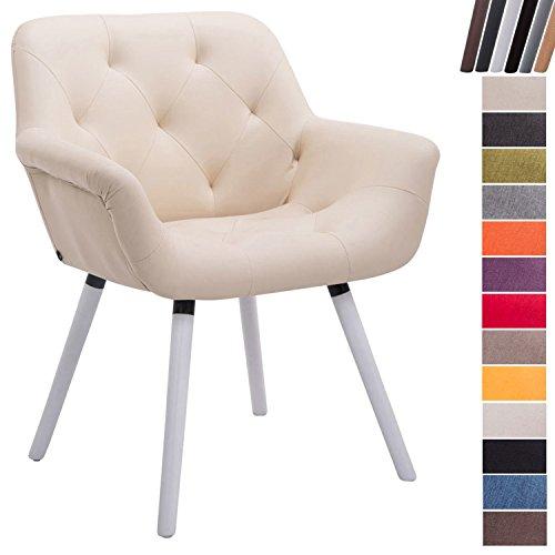 Clp sedia attesa cassidy in tessuto e legno | poltroncina imbottita conferenze, con braccioli, alt. seduta 45 cm i portata max 150kg crema base legno color bianco