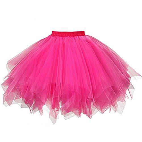 Hirolan Tüllrock Ballettrock Tutu Petticoat Vintage Partykleid Unterkleid Damen Falten Gaze Kurzer Rock Erwachsene Tutu Tanzender Rock Ballklei Abendkleid Zubehör (Einheitsgröße, Hot Pink)