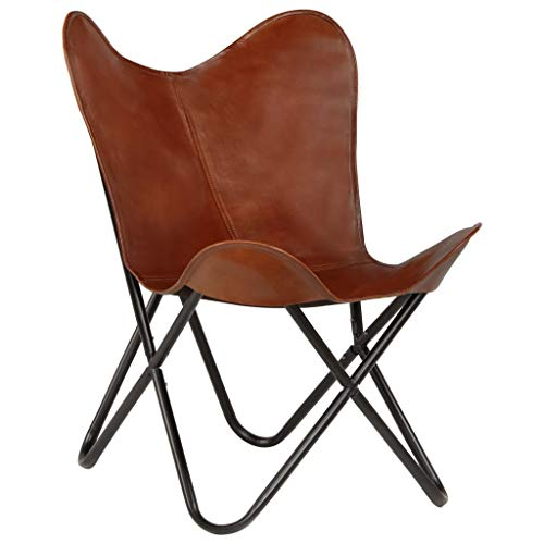 Festnight- Retro Butterfly-Sessel Echtleder   Klappstuhl Loungesessel Liegestuhl Campingstuhl   Kindergr??e 56 x 63 x 76 cm Braun - Über Leder Stuhl