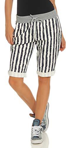 cleostyle Kurze Damen Bermuda, Leichte luftige Hose für Den Sommer, Kurzer Jogger für Freizeit und Strand 9 (Dunkelblau Streifen)